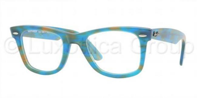 Ray Ban Kunststoff Brille Original Wayfarer RX 5121 5022 Gr.47 in der Farbe ruled azure / blau