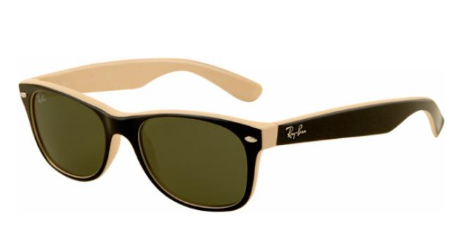 Ray-Ban New Wayfarer RB 2132 875 Sonnenbrille in top black on beige 55/18 dsv7pjO