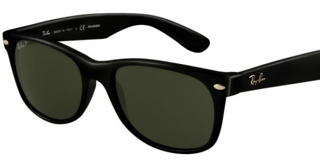 Ray-Ban Sonnenbrille New Wayfarer RB 2132 901/58 Gr. 55 polarisierend Black Crystal / schwarz 6Mp3t