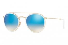 RAY BAN RAY-BAN Damen Sonnenbrille » RB3647N«, goldfarben, 001/4O - gold/blau